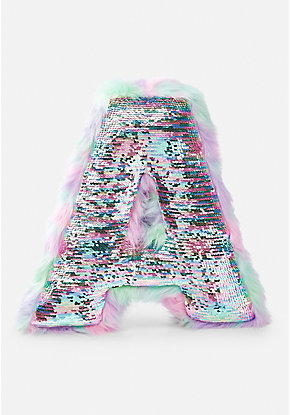 Flip Sequin & Faux Fur Initial Pillow