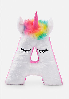 Unicorn Light Up Initial Pillow