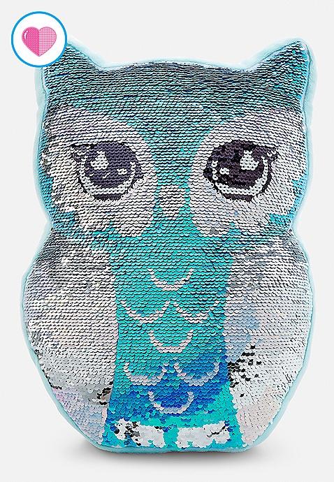 owl flip sequin pillow justice