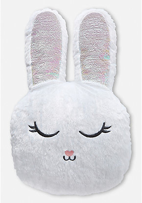 Snow Bunny Flip Sequin Pillow