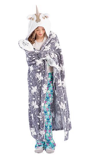 Cozy Hooded Sequin Unicorn Blanket Justice