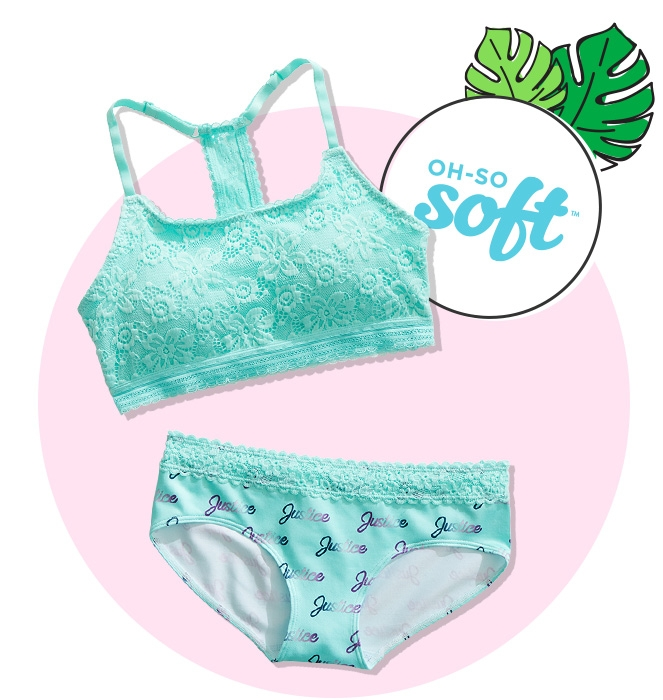 Blue lace t-back bralette and blue logo lace seamless bikini from Justice