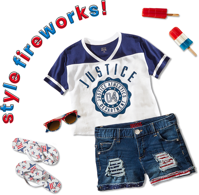 49af06427 Girls' logo crop football tee from Justice, americana destructed denim  shorts, and Americana