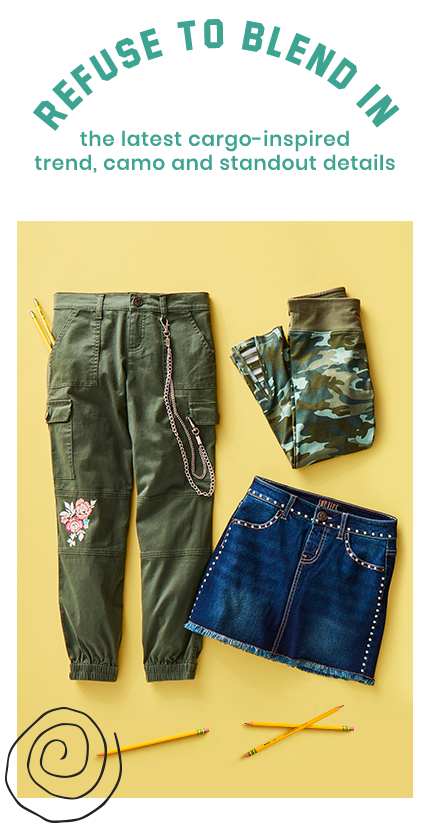 15d719a49ad56 Green cargo pants, camo leggings, and a studded denim skirt from Justice
