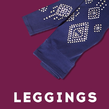 Girls' blue leggings with sparkly geometric prints from Justice