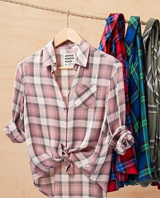 Girls' pink, red, blue, and green Perfect Plaid shirts from Justice