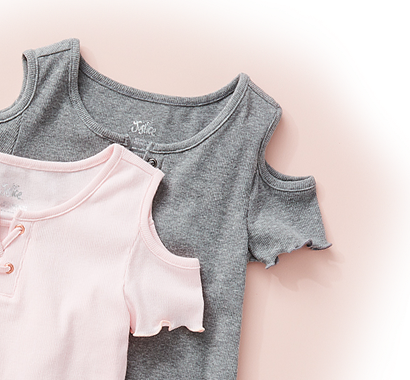 Girls' pink and gray lace up cold shoulder shirts