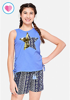 Lace Up Flip Sequin Tank