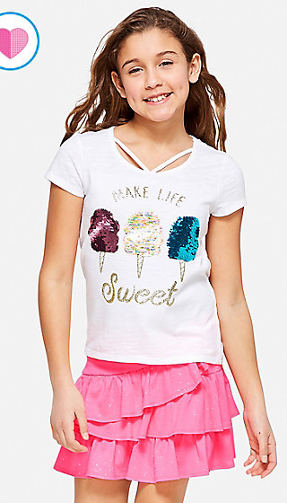 Flip Sequin Criss Cross Tee