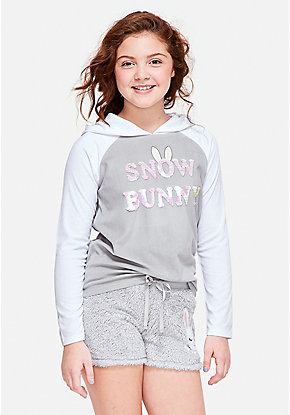 Snow Bunny Hooded Pajama Top