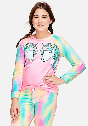 Sleepy Unicorn Raglan Pajama Top