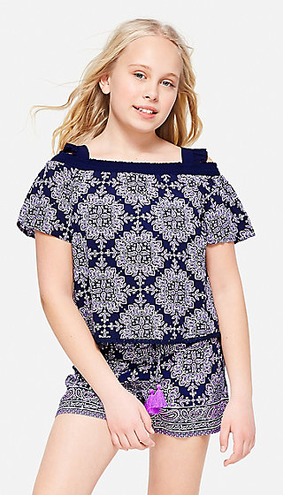 Ruffle Cold Shoulder Peasant Top