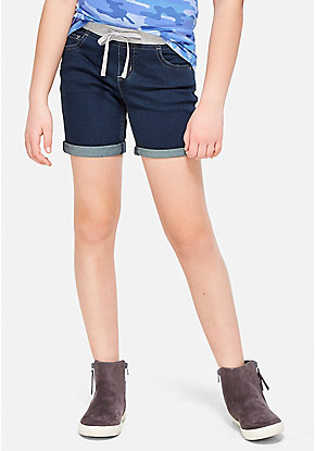 Knit Waist Denim Mid Thigh Shorts
