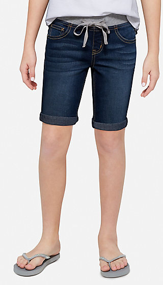 Knit Waist Denim Bermuda Short