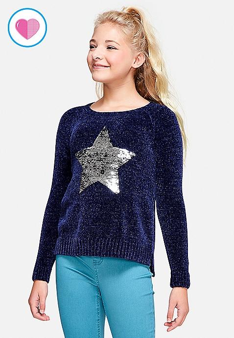 flippy sequin chenille sweater