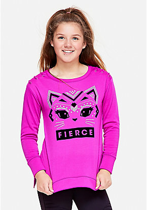 Fierce Kitty Lace Up Sleeve Sweatshirt