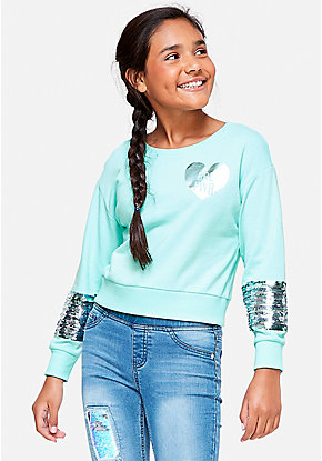 Flip Sequin Sleeve Sweatshirt