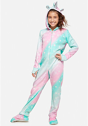 Unicorn Fleece Footed One Piece