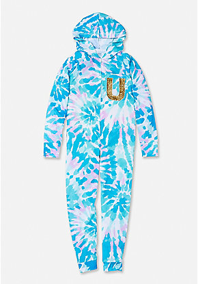 Tie Dye Flip Sequin Initial One Piece