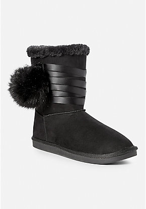 Pompom Ribbon Cozy Boot