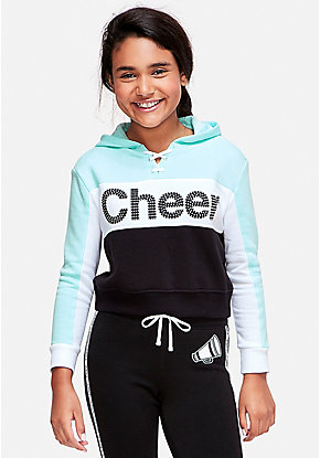 Cheer Stud Lace Up Crop Hoodie