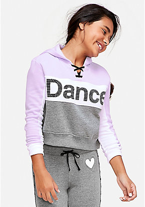 Dance Stud Lace Up Crop Hoodie