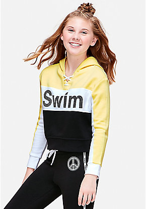 Swim Stud Lace Up Crop Hoodie