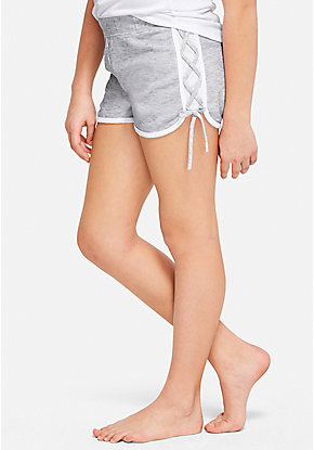 Lace Up Logo Pajama Shorts