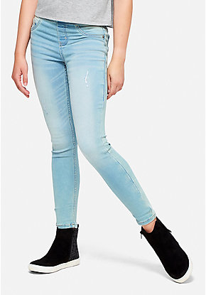 Destructed Pull On Jean Legging