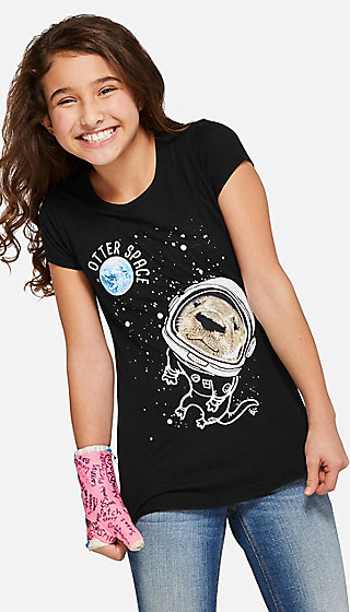 Otter Space Glitter Graphic Tee