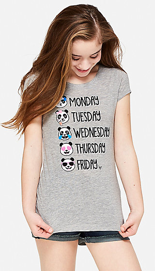 Panda Days of the Week Graphic Tee