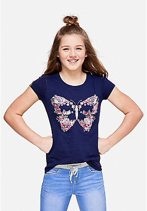 Floral Butterfly Graphic Tee