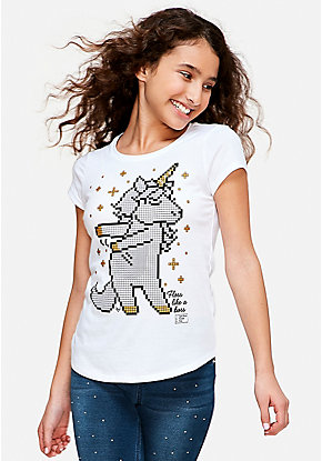 Flossing Unicorn Coloring Graphic Tee