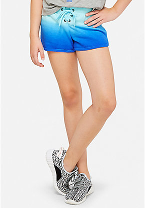 Print Lace Up Dolphin Shorts