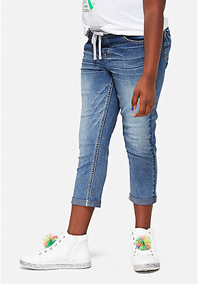 Knit Waist Destructed Denim Capris