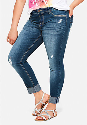 Destructed Roll Cuff Denim Capris