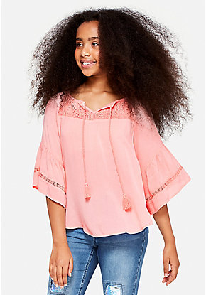 Crochet Bell Sleeve Peasant Top