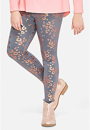 Foil Pattern Fleece Lined Leggings