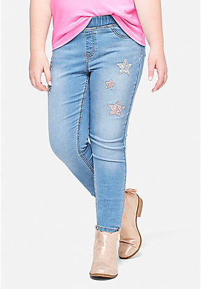 Glitter Star Pull On Jean Legging