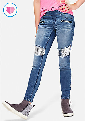 Flip Sequin Knee Pull On Jean Legging