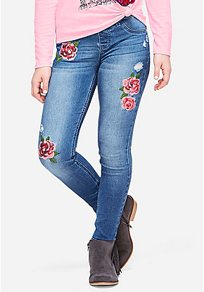 Embroidered Patch Jeggings