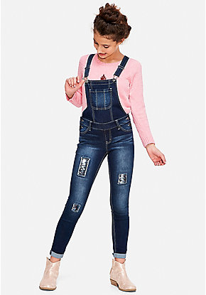 Flip Sequin Destructed Super Skinny Overalls