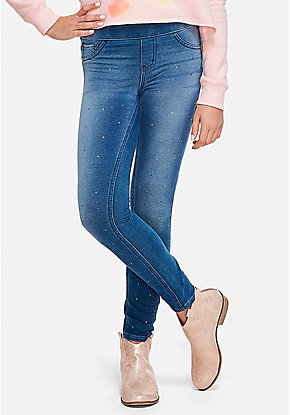 Rhinestone Pull On Jean Legging