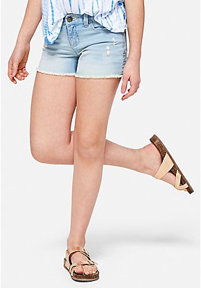Light Wash Destructed Denim Short Shorts