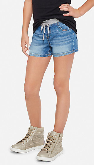 Knit Waist Denim Shorts