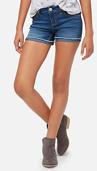 Frayed Hem Denim Midi Shorts