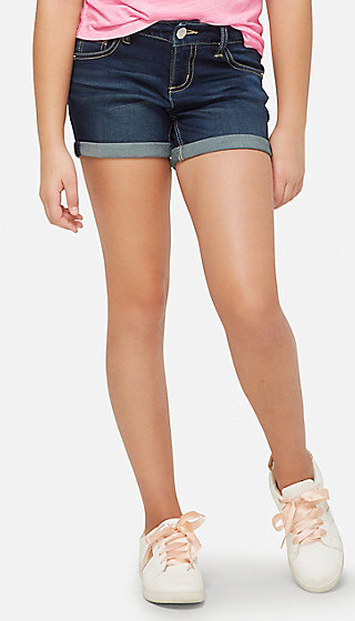 Double Cuff Denim Midi Shorts