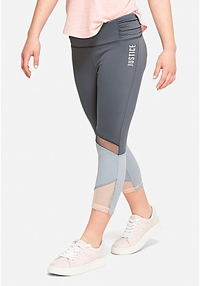 Ruched Mesh Crop Leggings