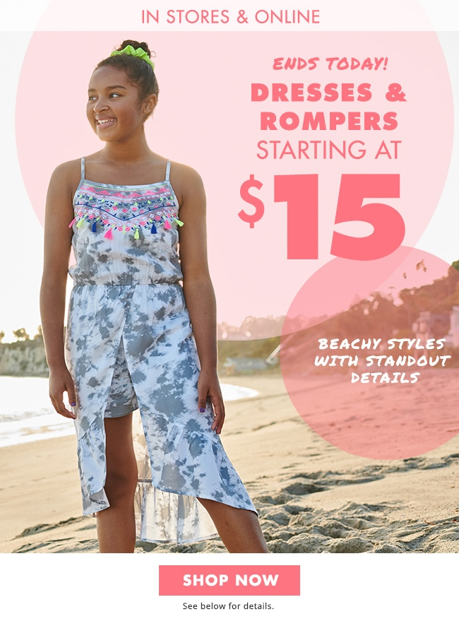 All Rompers & Dresses On Sales $15!