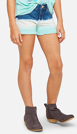 Dip Dye Denim Midi Shorts